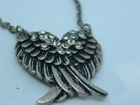 Angel Wing Rockabilly Necklace Vintage 90s Rhinestone Punk Gothic Silver Tone