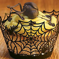 12Pcs/set Halloween Spider Cake Topper Cupcake Wrappers Paper Favor Party Decor