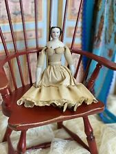 """Early c1860 8.25"""" Antique China Head Doll Rare Bun Hairstyle"""