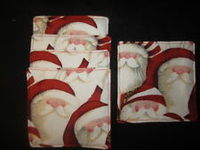 "SANTA HEAD CHRISTMAS HOLIDAY SET OF 5  5"" x 5"" HANDMADE FABRIC COASTER SET"