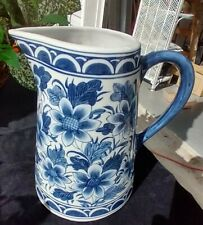 BEAUTIFUL BLUE & WHITE FLORAL PATTERN TALL CERAMIC PITCHER VASE