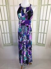 Forever Slinky Silky Purple Watercolor Halter Maxi Dress Sz Small Ruched Waist