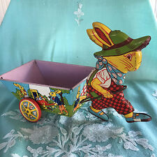 Vintage 1950's J. Chein Co. Tin Litho Boy Easter Bunny w/Checked Overalls