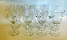 Set of 8 Vintage Mid-Century Glasses, Etched Crystal, Footed, Aperitif, Cordials