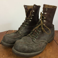 Vintage 1950s 40s Red Wing Leather Brown Neoprene Sole Shoes Work Boots 11.5