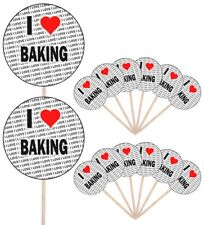I Love Baking Party Food Cup Cake Picks Sticks Flags Decorations Toppers
