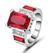 Jewelry Red Ruby10K white gold filled Fashion Anniversary Ring Women's Gift SZ 8