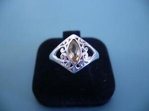 Genuine Sterling Silver 925 Marquise Cut Citrine Filigree Gem Ring - 8 / Q - 3g