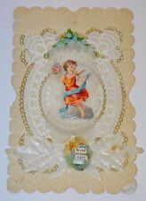 Antique Valentine Card BEAUTIFUL Rare 1878 Embossed Lace Paper Victorian Cherub