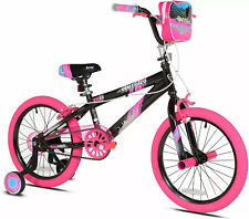 Girls 18 in Bike With Training Wheels And Pegs Summer Children Bicycle Sparkles