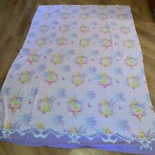 Disney Tinkerbell Twin Flat Sheet Pink Purple Floral Hearts Fabric Material