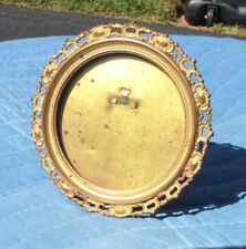Small Brass Round Victorian Easel Picture Frame; 1880s-90s; Reticulated Border