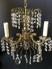 WOW Vintage *GOLD PRISMS Ceiling LIGHT Antique Metal *CHANDELIER WATERFALL