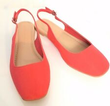 M&S Marks Women Coral Red Faux Suede Flat Heel Slingback Shoes Insolia BNWT S3.5