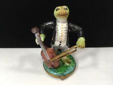 Tall Vintage Peint Main Limoges Box Frog Musician Playing Cello Fiddle 4 1/4""