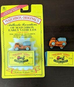 Pair Matchbox Originals Authentic Recreations #26 Cement Mixer Truck 1993 New
