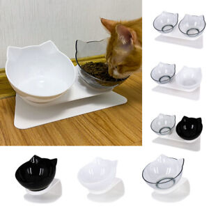 Anti-Vomiting Cat Feeder 15 Degree Tilted Design Neck Guard Stand Raised Bowls