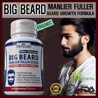Men Facial BEARD Mustache Hair Loss Grower Boost DHT BLOCKER Supplement 60 Pills