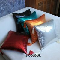 Throw Pillow Case Cushion Covers Sequin Tassel Fringe Shiny Sofa Bed Home Adorn
