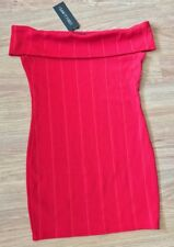 BNWt I Saw It First Red Bardot Dress Size 14 Ribbed Night Out Bandage Mini Party