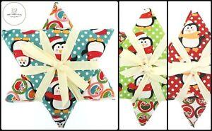 Christmas Set Fat Quarters Christmas Star Penguins 3 Colours 5 Piece Bundle Pack