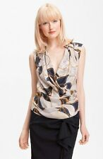 NWT Anne Klein Collection Wrap Front Silk Blouse 6 $250