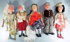 5 uralte Marionetten Puppen - Fundzustand - geschnitzte Köpfe - Arme/Beine Holz
