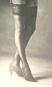"3 PAIR  Berkshire KICKS 5"" Lace Top Sheer Stockings Size A-B Sandalfoot 1561"