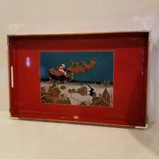 Vintage Otagiri Lacquerware Red Christmas Tray Christmas Santa Sleigh Reindeer