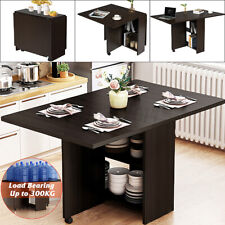 Mobile Dining Table Folding Drop Leaf w/ 2 wheels Storage Shleves Up To 6 Person