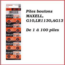 Piles boutons alcaline 1.5V G10/LR1130 de marque MAXELL, de 1 à 100 piles