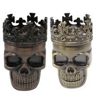 3 Layers Cool Skull Metal Herb Tobacco Spice Smoking Grinder Hand Crank Crusher