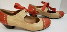 Chelsea Crew Shoes 39 Oxford Orange Patent and Tan Heels Satin Bow