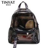 Fashion Clear Women Backpack Transparent Solid Travel School Bag Makeup Bag Moch