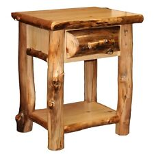 1 Drawer Log Nightstand w/ Shelf - Country Western Rustic Cabin Furniture Decor