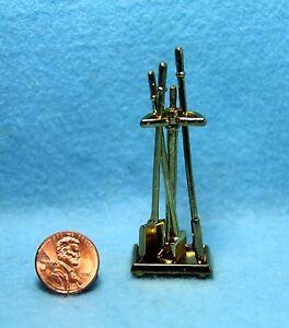 Dollhouse Miniature Metal Fireplace Tool Set Gold Tone IM66236