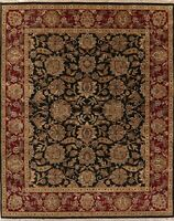 BLACK Agra Area Rug Wool Hand-Knotted Oriental All-Over Floral NEW 8 x 10 Carpet