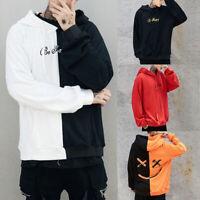 Men's Long Sleeve Hoodie Sweatshirt Color Block Hooded Jumper Coat Pullover Top