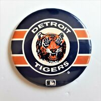 Vintage 1980's Detroit Tigers Pin Back Button Striped MLB Baseball Made in USA