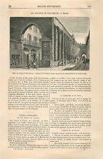 Colonnes en Marbre de San-Lorenzo à Milan Italie GRAVURE ANTIQUE OLD PRINT 1870