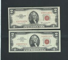 1953-1963 - US - TWO x $2 DOLLARS RED SEAL Banknotes ( 2 Notes ) - RR - NR