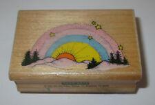 Rainbow Twilight Rubber Stamp Trees Sunset Stars Hero Arts Retired Wood Mounted