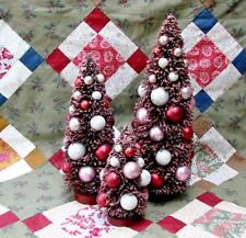 Set of 3 Deep Cranberry Red Christmas Bottle Brush Trees Loaded with Ornaments