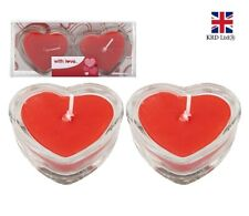HEART SHAPED RED CANDLES Valentines Day Gift I Love You Candle GLASS PM737085 UK