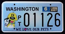 "WASHINGTON "" WE LOVE OUR PETS - CAT - DOG "" WA Specialty License Plate"