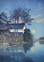 """Hasui Kawase Evening at Itako Japanese Woodblock Print 1930 14"""" × 9.5"""""""