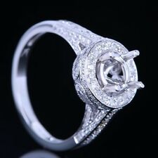 SOLID 14K WHITE GOLD REAL DIAMONDS SEMI MOUNT ENGAGEMENT RING ROUND 6MM SETTING