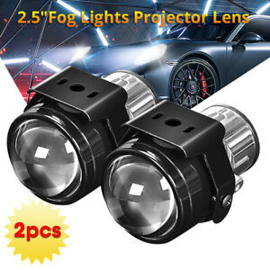 "Pair 2.5"" Bi-Xenon HID Fog Light Projector Lens Hi/Lo Beam H11 H8 H9 Retrofit"