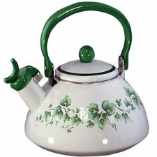 Corelle CALLAWAY Ivy Green 2.2 Qt. WHISTLING TEA KETTLE Porcelain on Steel *NEW