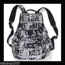 VICTORIAS SECRET PINK FASHION SHOW SEQUIN BLING BACKPACK KISS ME TOTE BOOKBAG